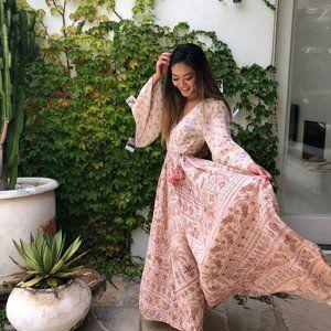TIGERLILY Aziza Pink Bell Sleeve Maxi Dress RP$319